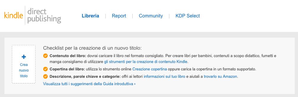 crea nuovo titolo pubblicazione ebook amazon